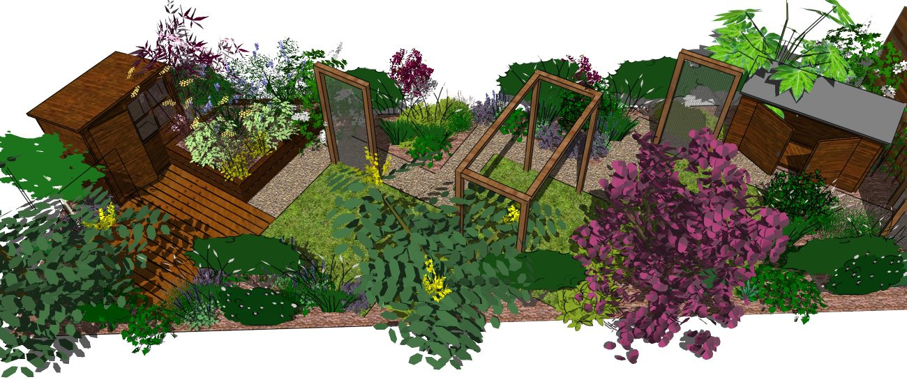 Garden Design Hertfordshire: A long thin landscape garden ...
