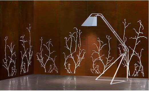 Corten steel screen for garden