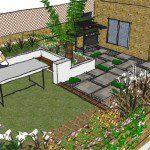 Garden design patio Hackney