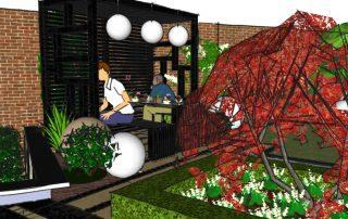 Modern Japanese Pergola - Garden design London