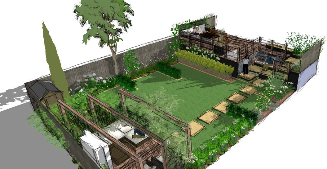 A Modern Garden Design Presentation - Split level - Earth ...