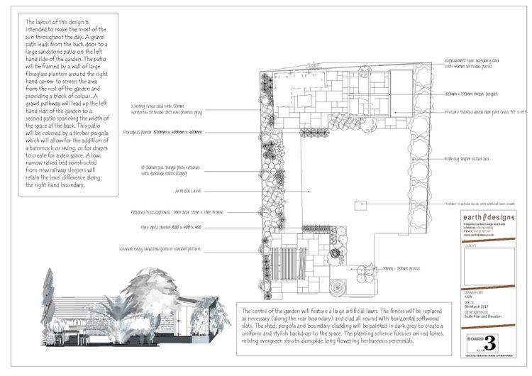 A scale garden plan from our Leigh on Sea garden designer