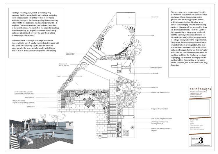 A scale plan of the Loughton garden design