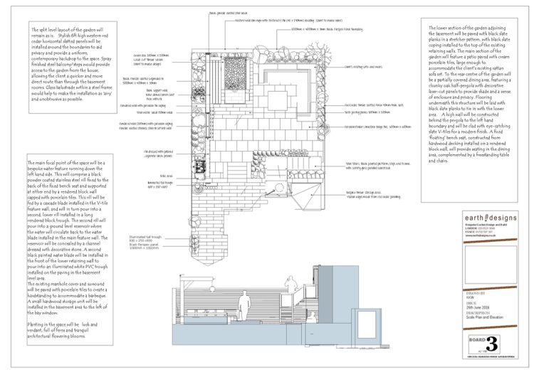 A scale plan with elevations show the changes in the space