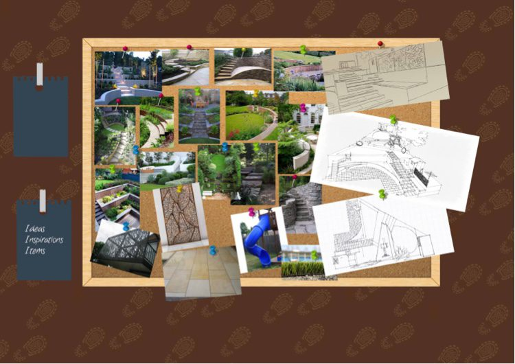 Curved walls, round lawns and screening are recurrent motifs
