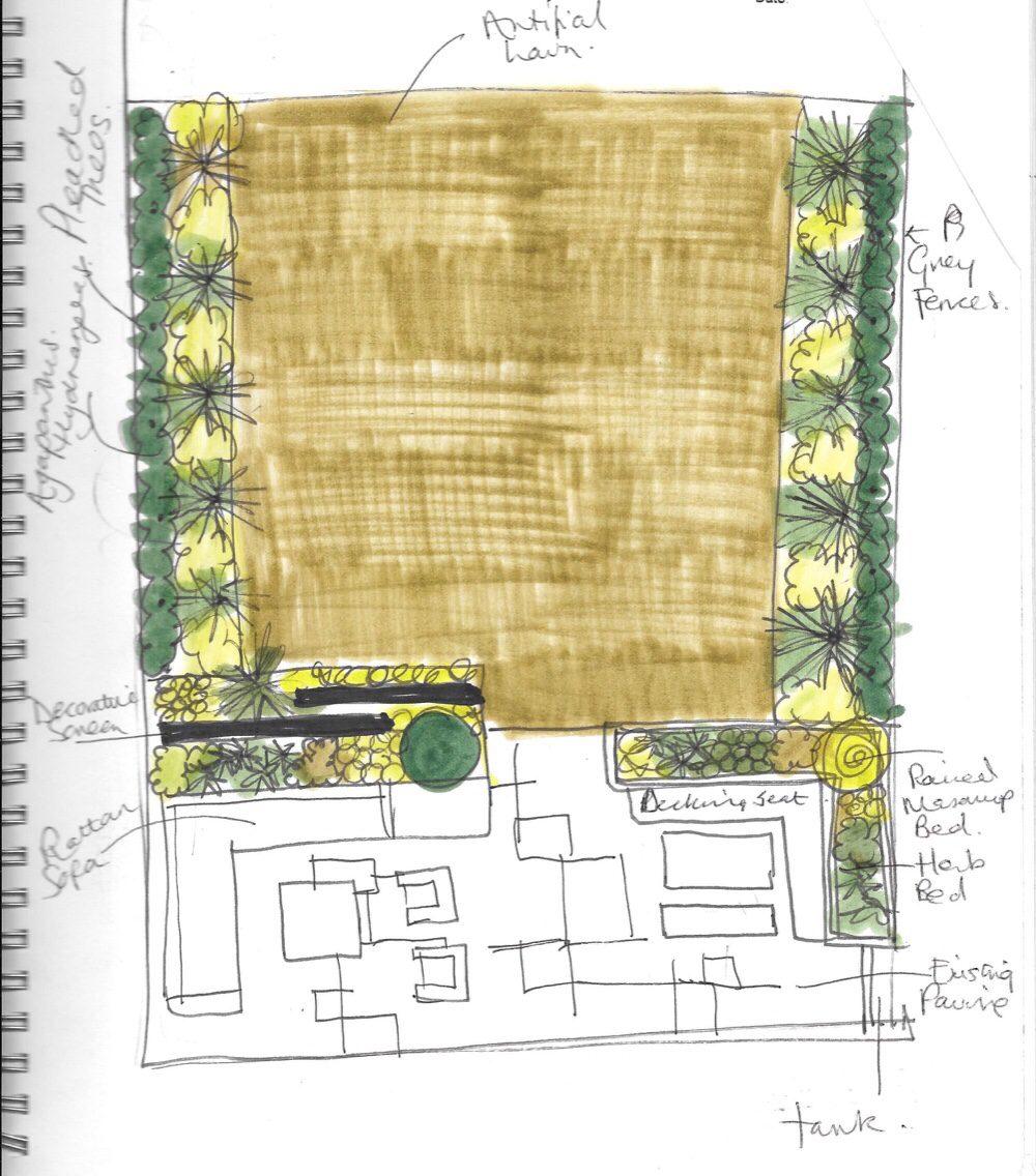 Garden Design sketch for South Woodford garden