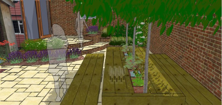 Garden seating with natural shade canopy