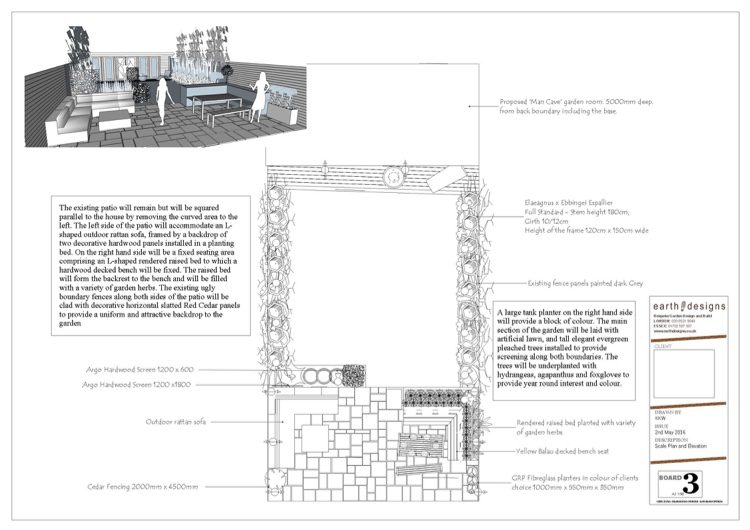 Scale plan helps the client plan for the mancave