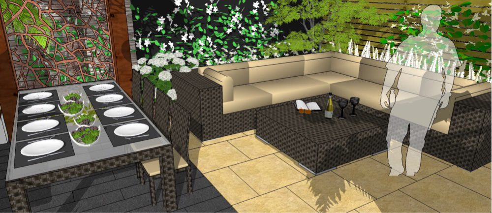 The dining area is sited under a pergola for privacy