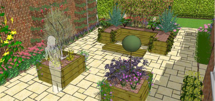 kitchen garden with raised planters