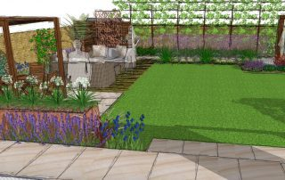 The garden is divided up into clear areas for all the family to use in different ways