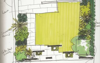 East-facing garden design sketches