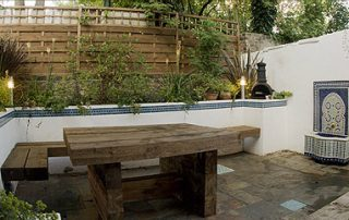 Garden bench seating multi-level garden