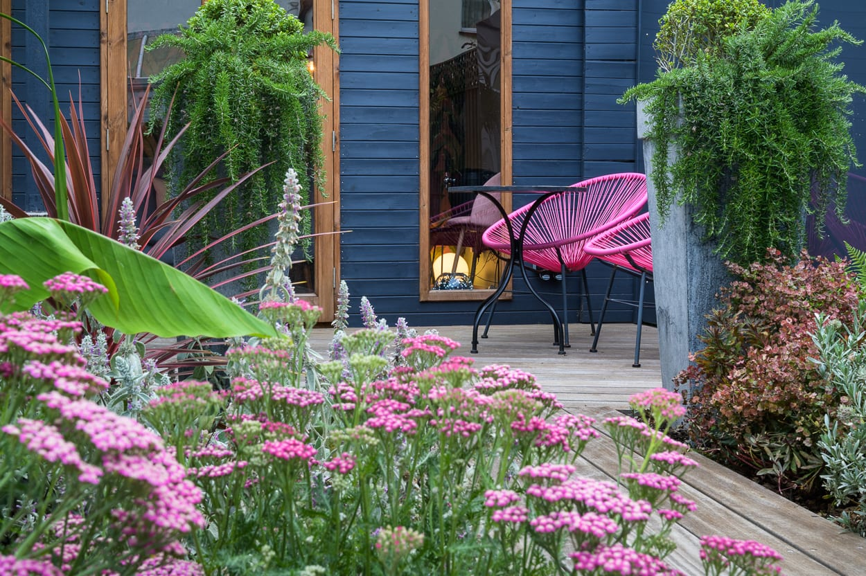 achillea and pink chairs - COVER John & Ant - Essex Urban Garden Design