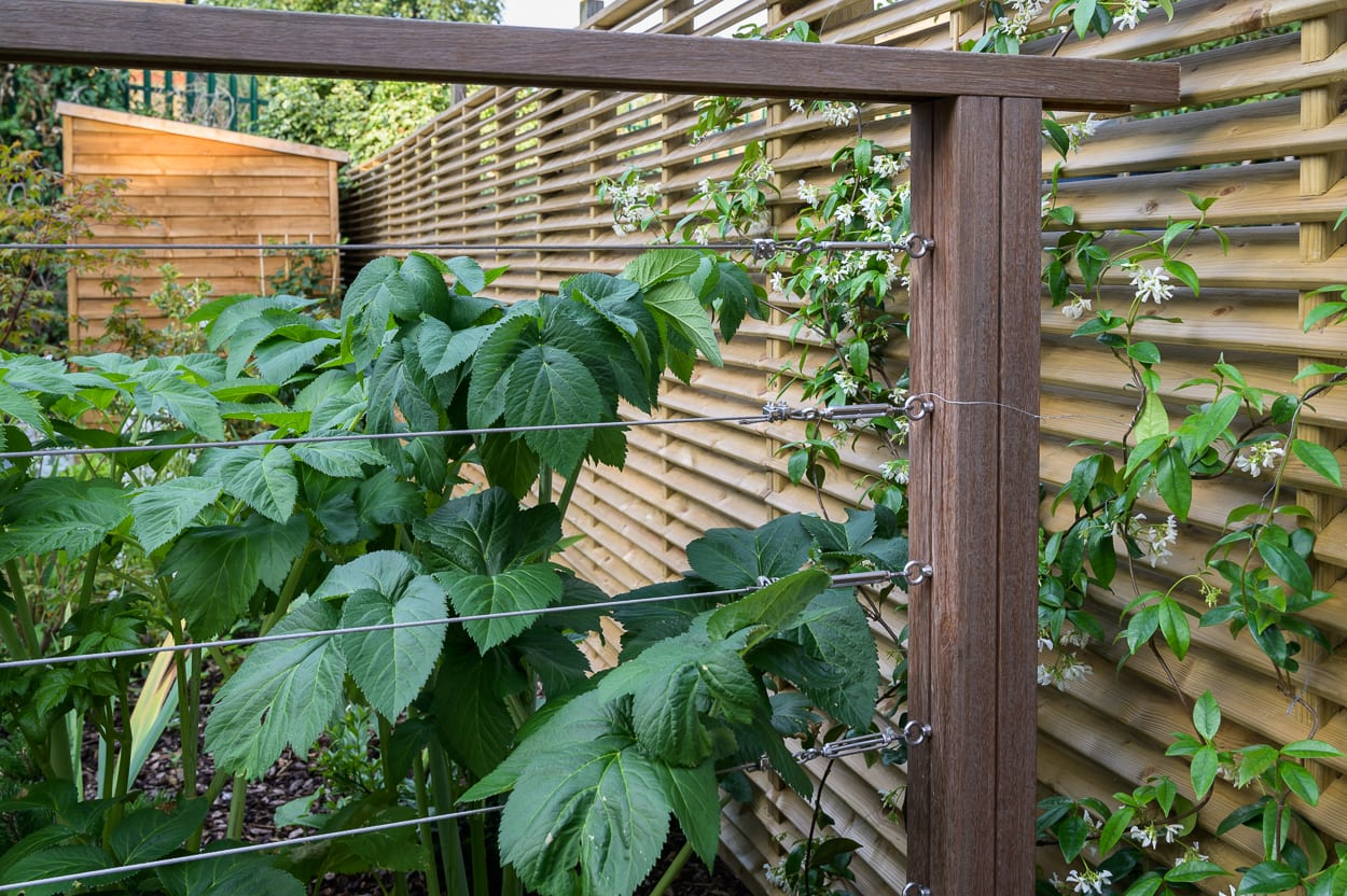 stainless steel tension wire rails ED286 - Sanctuary Garden Design in London